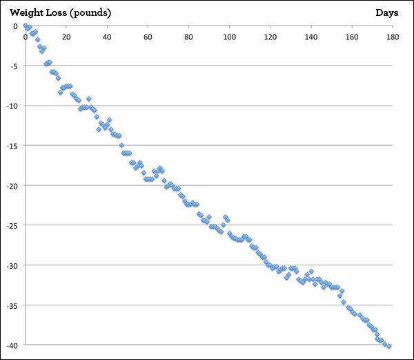 This is Susan's actual weight tracker showing her steady progress.
